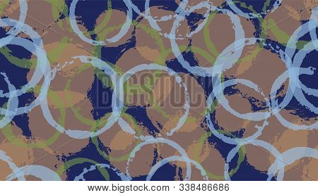 Distressed Painted Circles Geometry Fabric Print. Round Shape Splotch Overlapping Elements Vector Se