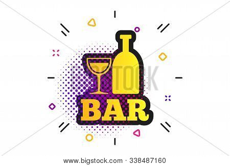 Bar Or Pub Sign Icon. Halftone Dots Pattern. Wine Bottle And Glass Symbol. Alcohol Drink Symbol. Cla
