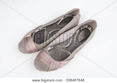 Pair Of Womens Flat Shoes Isolated
