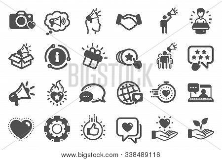 Brand Ambassador Icons. Influence People, Megaphone And Representative. Handshake, Influencer Market