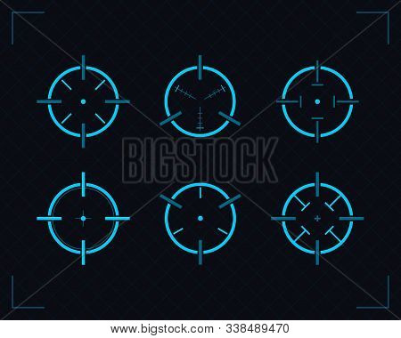Target Icons Set Sniper Scope Symbol Isolated On A Grey Background. Military And War, Weapon And Gun