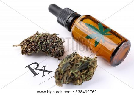 Close-up Of Medical Cannabinoid Oil In Container To Represent Cannabis Available Through Doctors Pre