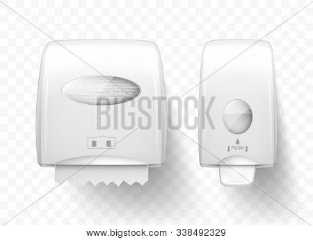 Dispenser For Liquid Soap And Paper Towels, Realistic Vector. White Equipment For Public Toilets, Hy
