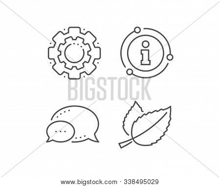 Mint Leaves Line Icon. Chat Bubble, Info Sign Elements. Herbal Leaf Sign. Tea With Mentha Symbol. Li