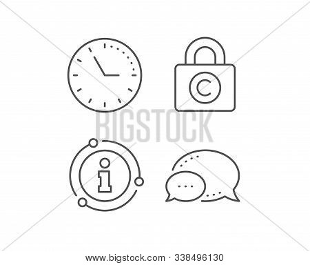 Copyright Locker Line Icon. Chat Bubble, Info Sign Elements. Copywriting Sign. Private Information S