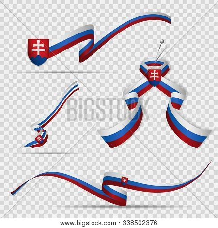 Flag Of Slovakia. 17th Of July. Set Of Realistic Wavy Ribbons In Colors Of Slovak Flag On Transparen