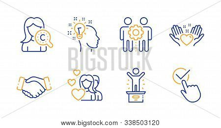 Hold Heart, Collagen Skin And Winner Podium Line Icons Set. Handshake, Couple And Idea Signs. Employ