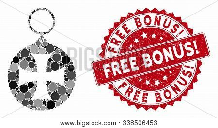 Collage Maltese Cross Medal And Grunge Stamp Seal With Free Bonus Exclamation Caption. Mosaic Vector