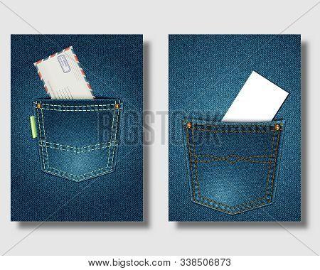 Jeans Pocket On Denim Background. Envelope And Business Card In Pockets. Poster, Banner Or Leaflet T