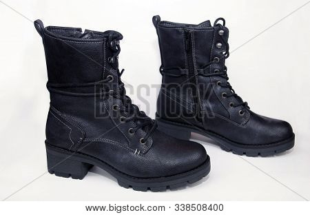Black Shoes With Laces On A White Background. Isolate.black Army Shoes Isolated On A White Backgroun