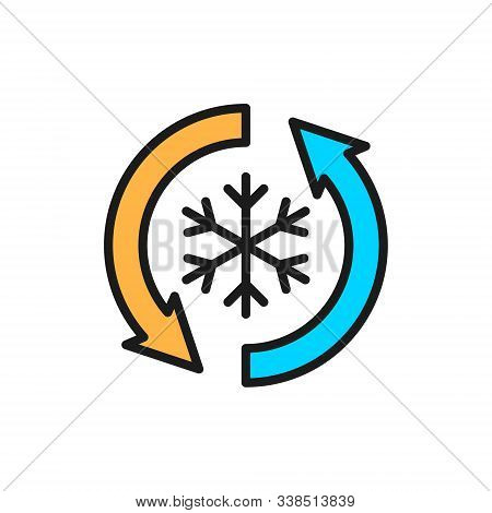 Low Frost, No Frost, Freezing Flat Color Line Icon.