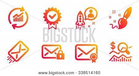 Secure Mail, Verified Mail And Paint Brush Line Icons Set. Update Data, Startup And E-mail Signs. Ce