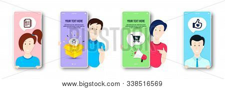 Special Offer, Dry T-shirt And Cv Documents Icons Simple Set. People On Phone Screen. Like Hand Sign
