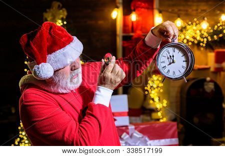 Merry Christmas. Happy New Year. Christmas Clock. Christmas Time. Santa Man Celebrate Christmas. New