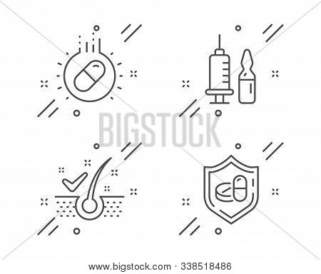 Anti-dandruff Flakes, Capsule Pill And Medical Vaccination Line Icons Set. Medical Tablet Sign. Heal