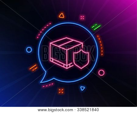 Delivery Insurance Line Icon. Neon Laser Lights. Parcels Tracking Sign. Shipping Box Symbol. Glow La