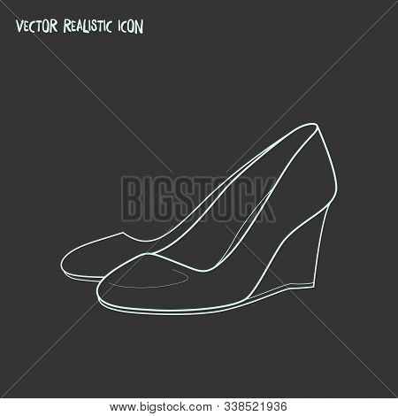 Wedge Heel Icon Line Element. Vector Illustration Of Wedge Heel Icon Line Isolated On Clean Backgrou