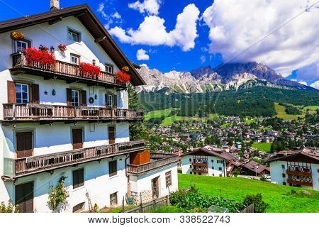 Wonderful valley in Cortina d'Ampezzo - famous ski in northern Italy, Belluno province