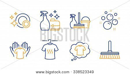 T-shirt, Household Service And Hold T-shirt Line Icons Set. Cleanser Spray, Clean Bubbles And Clean