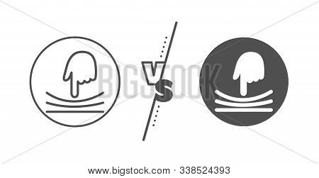 Resilience Material Sign. Versus Concept. Elastic Line Icon. Line Vs Classic Elastic Icon. Vector