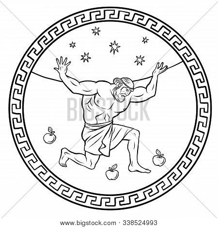 Steal The Golden Apples Of The Hesperides. Hercules Holds The Sky. 12 Labours Of Hercules Heracles.