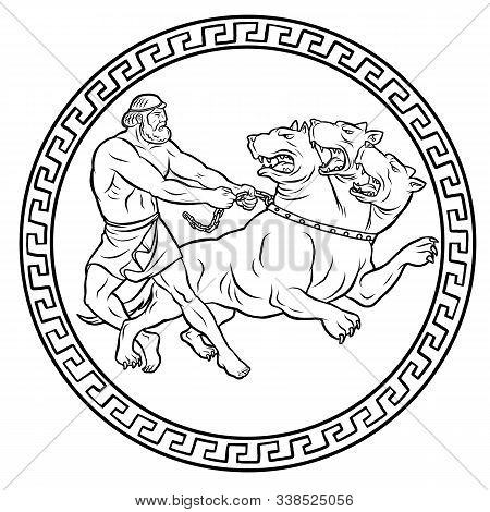 Capture And Bring Back Cerberus. 12 Labours Of Hercules Heracles. Myths Of Ancient Greece Illustrati