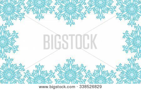 Background Of Silhouettes Of Snowflakes. Vector Illustration. Applied Clipping Mask.