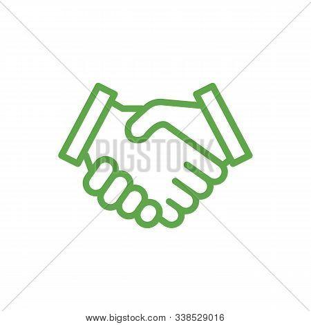 Handshake Line Icon, Partnership, Deal, Handshake Icon Isolated On Green, Vector Illustration