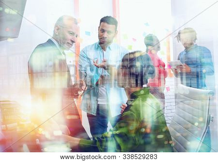 Business People That Work Together In Office. Concept Of Teamwork And Partnership. Double Exposure