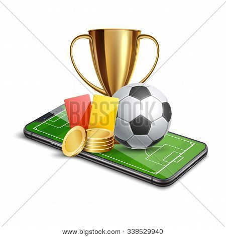 Vector 3d Golden Cup Football Card Betting Promo