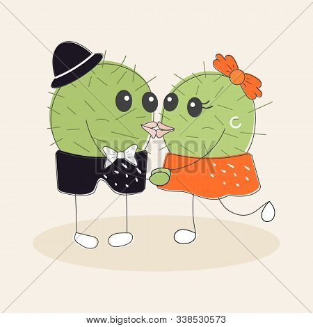 Funny Simple Naive Cute Cactus Kissing Pair:girl With Orange Bow And Boy With Blue Hat.for Decoratio