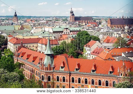 View From Wawel Hill In Krakow. Old Town. In The Foreground Is A Seminary Of The Archdiocese. In The
