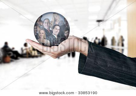Personalwesen-Konzept / hand Mitarbeiter Auswahl Optionen