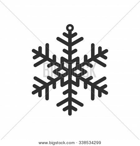 Snowflake Vector Icon. Simple Snow Sign. Black Decorative Element For Christmas Winter Design Isolat