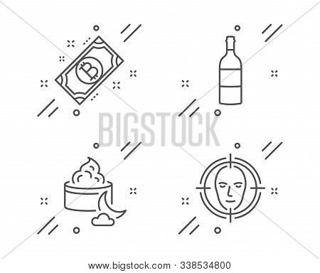 Wine Bottle, Bitcoin And Night Cream Line Icons Set. Face Detect Sign. Cabernet Sauvignon, Cryptocur