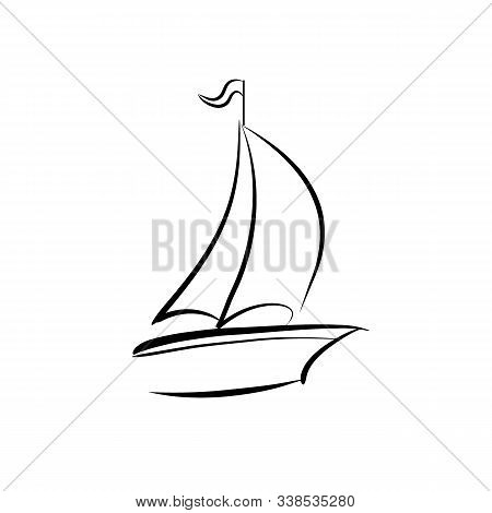 Sailboat Vector Icon On White Background. Flat Vector Sailboat Icon Symbol Sign From Modern Transpor