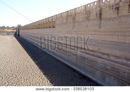View Over Parched And Empty Dam Wall