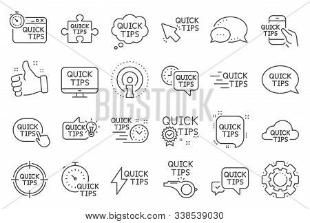 Quick Tips Line Icons. Set Of Helpful Tricks, Solution And Quickstart Guide Linear Icons. Tutorial,