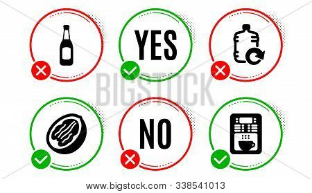 Refill Water, Beer And Pecan Nut Icons Simple Set. Yes No Check Box. Coffee Maker Sign. Cooler Bottl