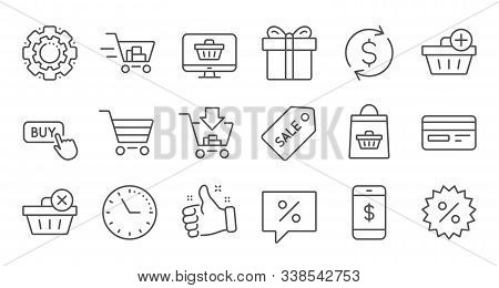 Shopping Bag Line Icons. Gift, Present And Sale Discount. Delivery Linear Icon Set. Quality Line Set