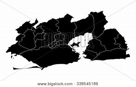 Greater Rio De Janeiro Dark Silhouette Map Isolated On White Background, Brazil