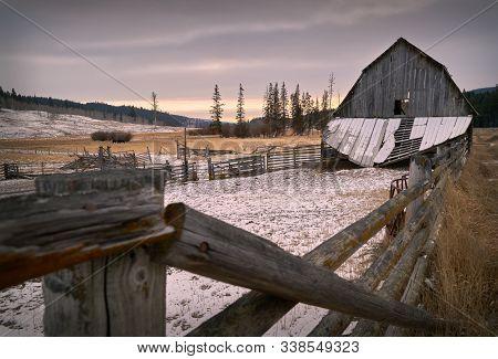 Winter Ranch Nicola Valley Merritt. An Old, Weathered Barn In The Nicola Valley, British Columbia, C