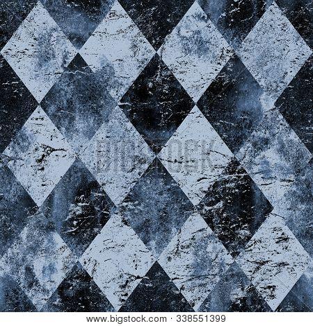 Indigo Blue Navy Vintage Grunge Argyle Seamless Plaid Pattern. Watercolor Hand Drawn Background. Wat