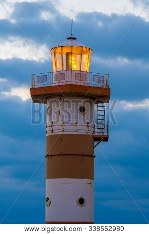 The Lovers Leap Lighthouse In Saint Elizabeth Parish, Jamaica, A 100 Foot Tall Cylindrical Steel Tow