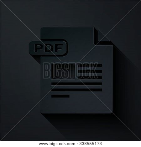 Paper Cut Pdf File Document. Download Pdf Button Icon Isolated On Black Background. Pdf File Symbol.
