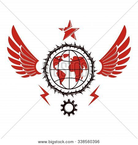 Vector Emblem Composed Using Earth Globe Surrounded With Industrial Gear And Decorated Using Pentago