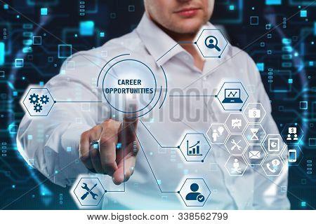 Business, Technology, Internet And Network Concept. Marketing Content. Businessman Presses A Button