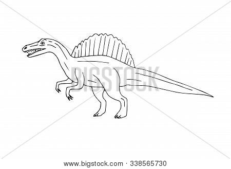 Vector Hand Drawn Sketch Doodle Spinosaurus Dinosaur Isolated On White Background