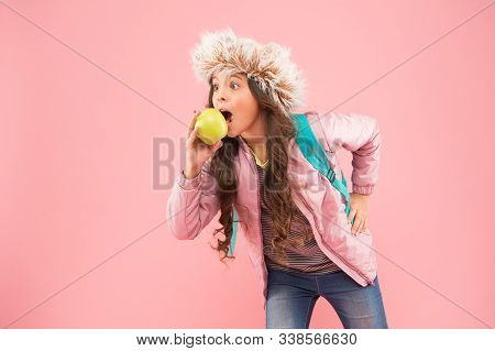 Kid Pink Background. Teen Daily Life. Education And Happy Kids. Schoolgirl With Books After Lesson.