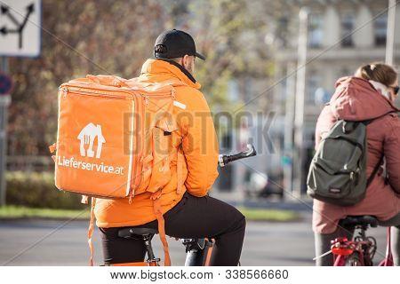 Vienna, Austria - November 6, 2019: Lieferservice Logo On A Delivery Guy In Vienna. Also Called Lief